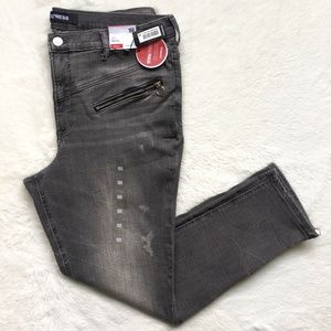 Express High Rise Moto Zip Ankle Legging Jeans